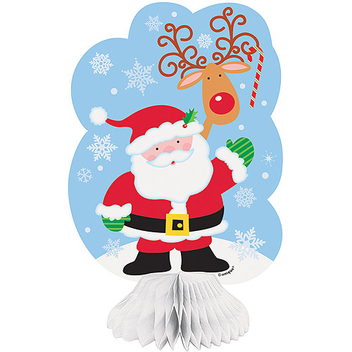 Mini Santa Honeycomb Decorations, 3-Count