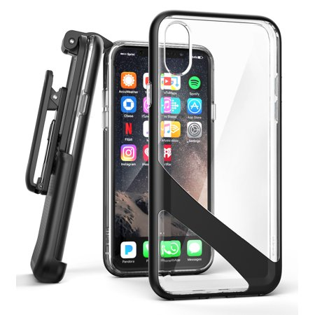 Back Premium Series - iPhone X Belt Clip Case w/ Screen Protector, Encased [Reveal Series] Premium Clear Back Cover with Holster Clip (Black)