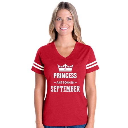 Birthday Gift Princess are Born in September Women's Football V-Neck Fine Jersey Tee