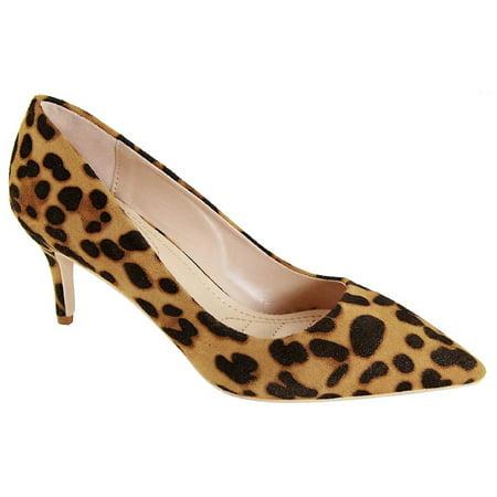 Marque-4 Women Pointed Toe Suede Low Kitten Heel Slip On Pumps Leopard