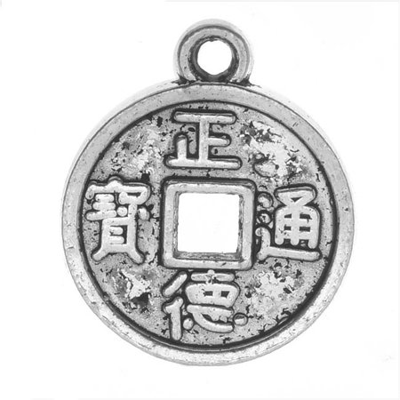 Lead-Free Pewter Charms, Chinese Good Luck Coin 18.5mm, 4 Pieces, Antiqued - Good Luck Chinese