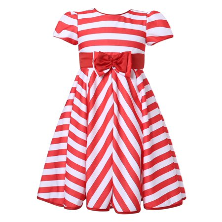 Richie House Girls' Striped Party Dress RH2226](Navy Pinup Girl)