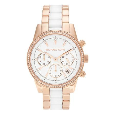 8493833b0539 Michael Kors - Michael Kors Women s MK6324  Ritz  Rose Goldtone Stainless  Steel White Chronograph Dial Link Bracelet Watch - Walmart.com