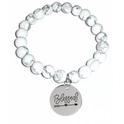 Howlite Natural White Stone Women's Stretch Beaded Bracelet, Inspirational Message Charm (Blessed)