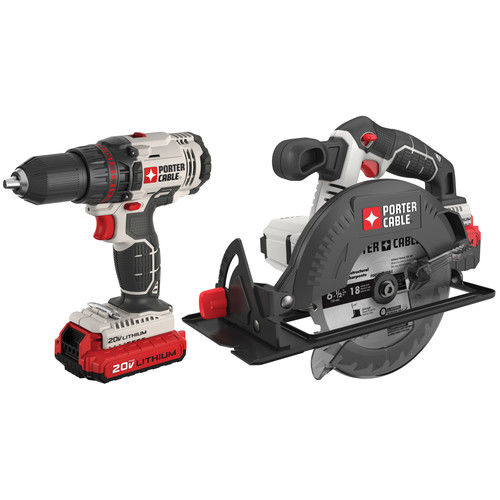 Porter-Cable PCCK605L2 20V Max Cordless Lithium-Ion Drill Driver and Circular Saw Combo Kit by Porter Cable