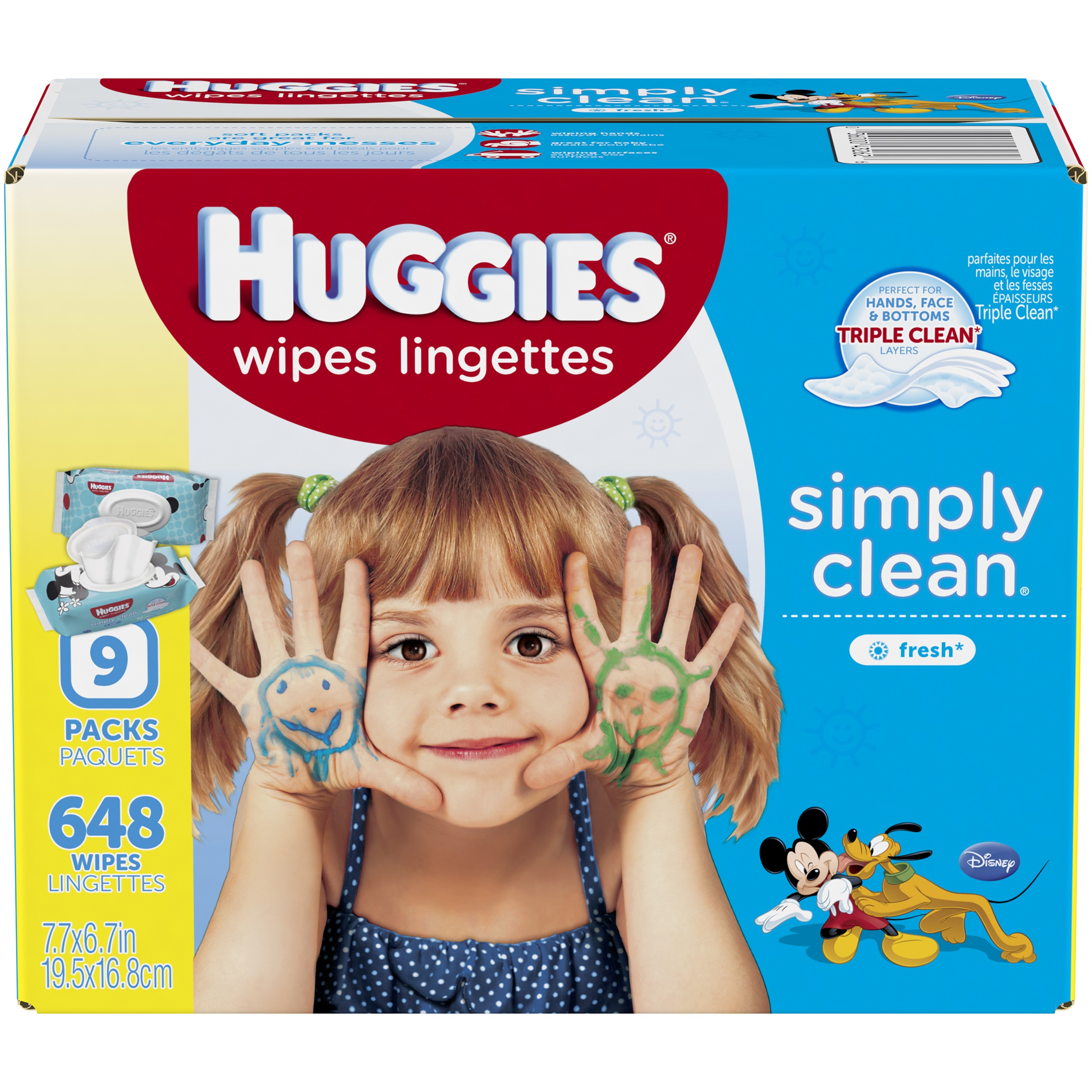 Huggies Simply Clean Baby Wipes, Scented, 9 packs of 72 (648 count)