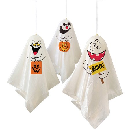Ghost Halloween Hanging Decorations, 35 in, 3ct](Graveyard Fence Halloween Decorations)