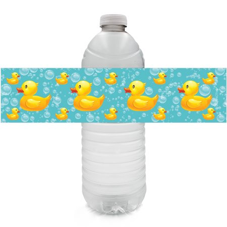 Rubber Ducky Bubble Bath Party Water Bottle Labels, 24 Count (Personalized Labels For Water Bottles)