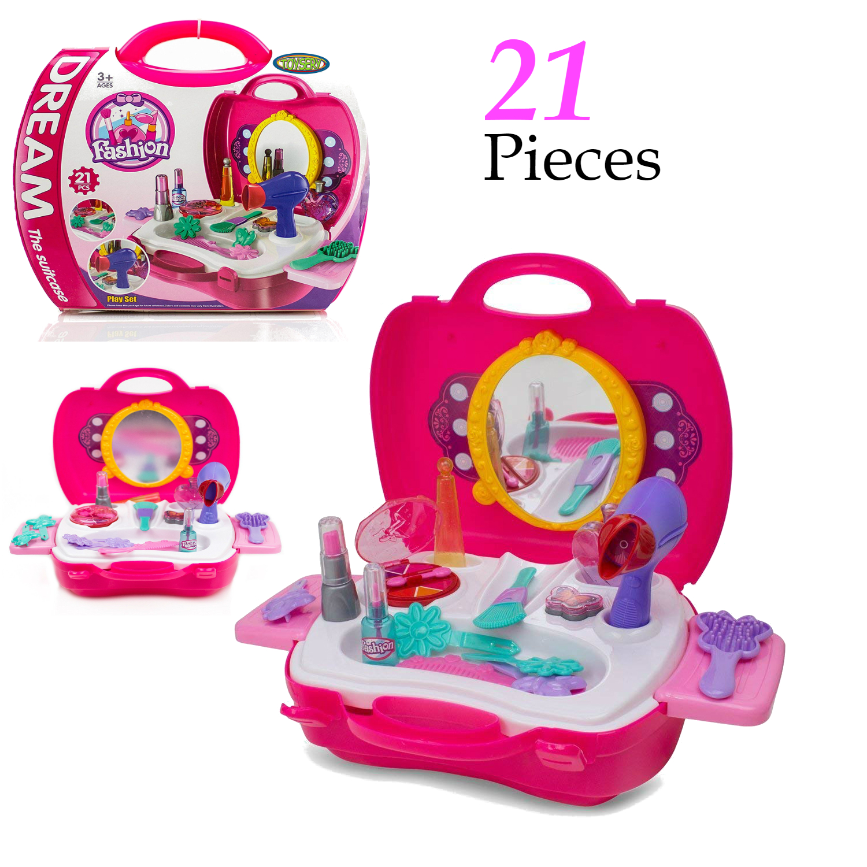 Pretend Play Makeup Kids Vanity Case Fashion Beauty Salon Set With