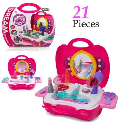 Pretend Play Makeup Kids Vanity Case Fashion Beauty Salon Set with Hair Dryer Mirror Scissors Hair Brush for Little Girls Toddler 21 Pcs ()