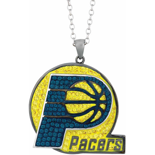 NBA Men's Swarovski Crystal Fine Silver-Tone Indiana Pacers Medallion Pendant, 24""