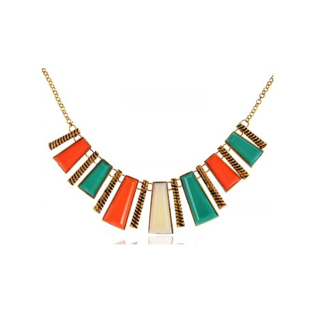 Tribal Inspired Golden Tone Abstract Shapes Statement Collar Necklace