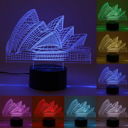 Moaere 3D Lamp Sydney Opera House Led Illusion Light 3D Night Light USB Acrylic Colorful LED Table Desk Christmas Decoration Gift Toy Deal of the day](Top Deals)