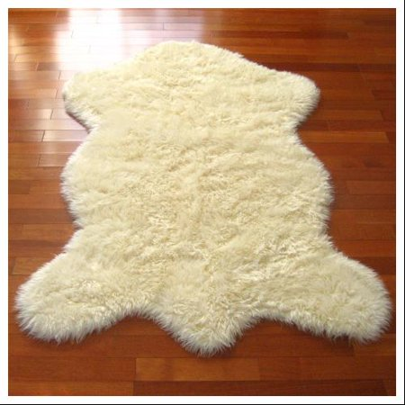Classic Sheepskin Pelt Ivory Acrylic Faux Fur Rug 2 3 X 3