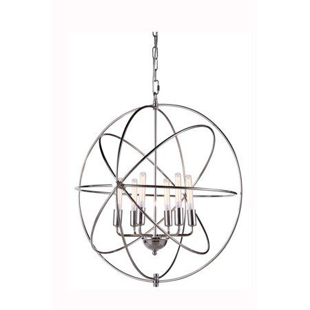 New Product Elegant Lighting & Furniture The Vienna Collection 6  Light Finest Crystal  Pendant Ceiling Fixture  in  Polished Nickel Finish 1453D25PN Sold By VaasuHomes
