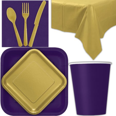 Dinner Party Tableware (Disposable Party Supplies for 28 Guests - Deep Purple and Gold - Square Dinner Plates, Square Dessert Plates, Cups, Lunch Napkins, Cutlery, and Tablecloths:  Tableware)