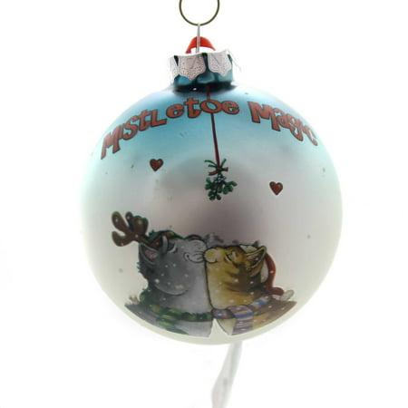 Holiday Ornaments MISTLETOE MAGIC CATS Glass Gary Patterson 6001956