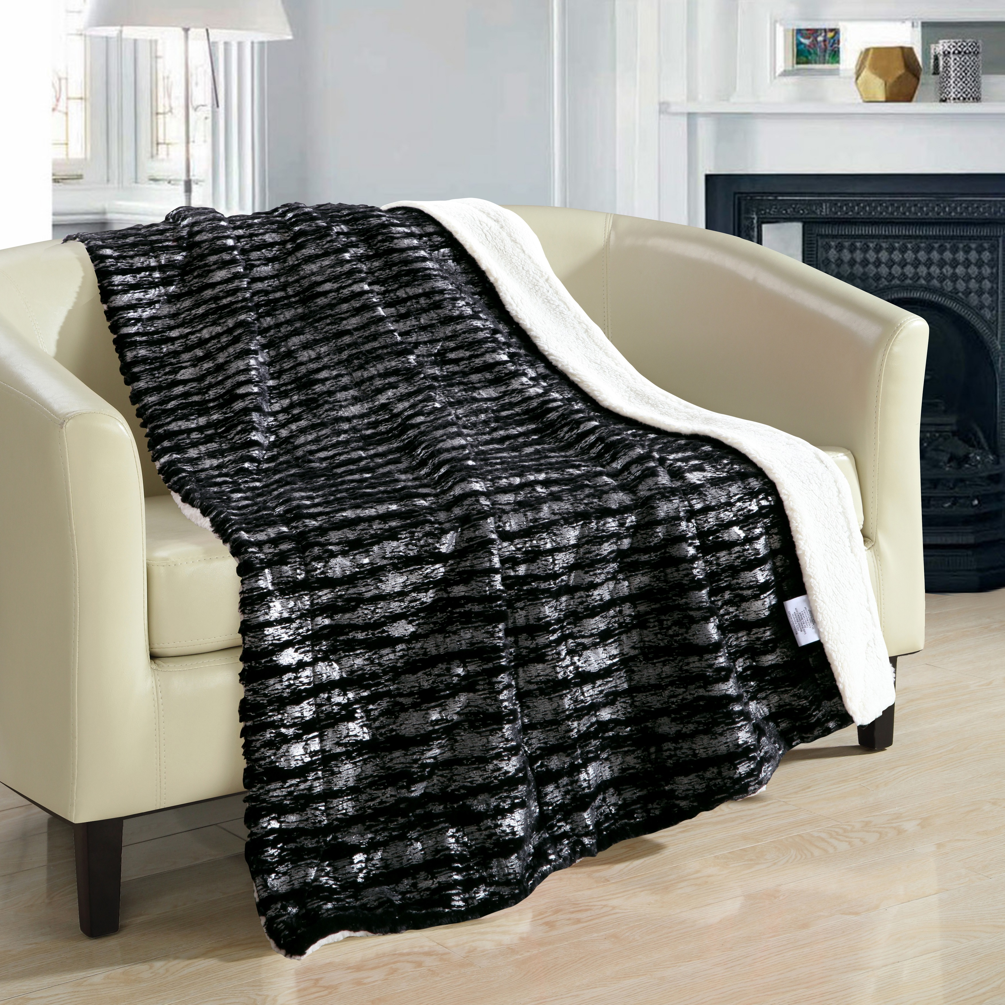 """Chic Home Sechylles ULTRA PLUSH Micro Mink Silver Stamping Sherpa lined 50""""x60"""" Sherpa Blanket Red"""