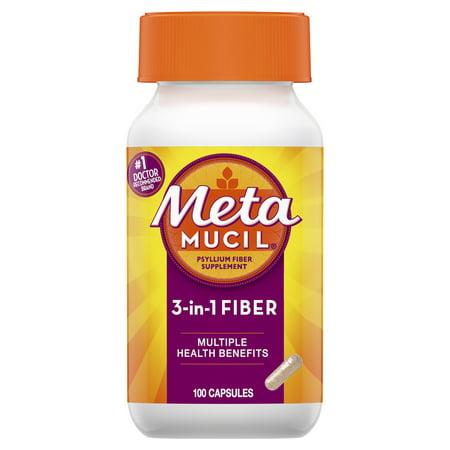 Metamucil Multi-Health Psyllium Fiber Supplement Capsules, 100