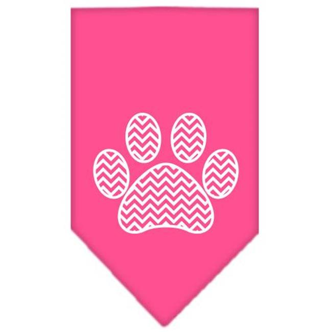 Chevron Paw Screen Print Bandana Bright Pink Small - image 1 de 1