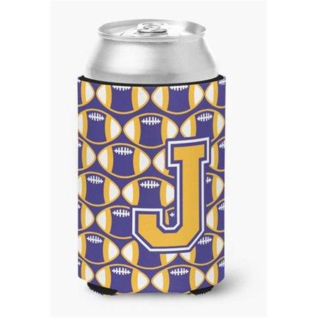 Letter J Football Purple & Gold Can or Bottle Hugger - image 1 de 1