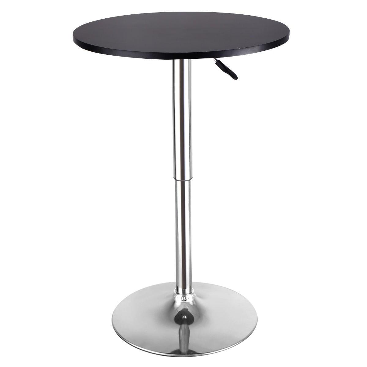 Modern Round Bar Table Adjustable Bistro Pub Counter Wood...