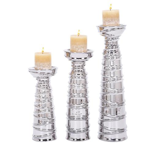 Casa Cortes Casa Corter Silver Ceramic Pillar Candle Holders (Set of 3)
