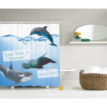Whale Fish Dolphin Shark Seal Underwater Sea Creatures Nautical Shower Curtain