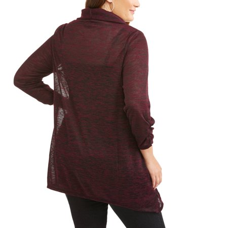 French Laundry Women's Plus 3/4 Sleeve Cowl Neck Shark Bite Hacci Top