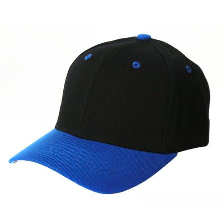 Plain Blank Baseball Hats Adjustable Hook and Loop Closure, Black Royal Blue](Royal Blue And Black)