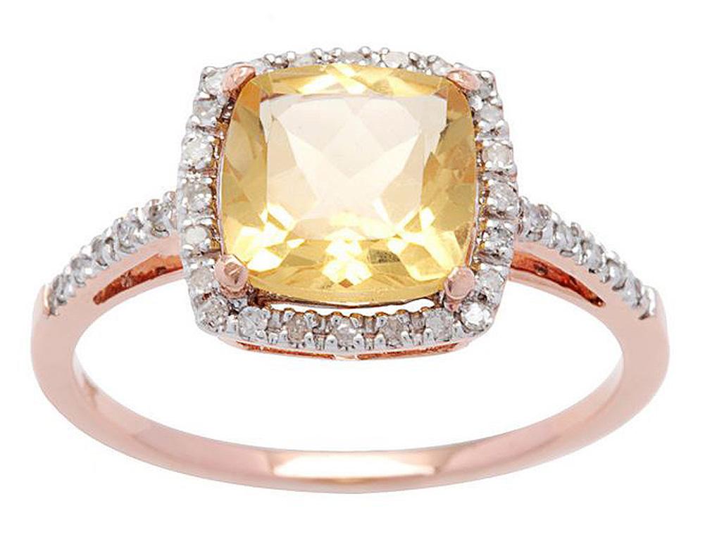 10k Rose Gold Cushion Citrine and Diamond Halo Ring by Designer Diamonds