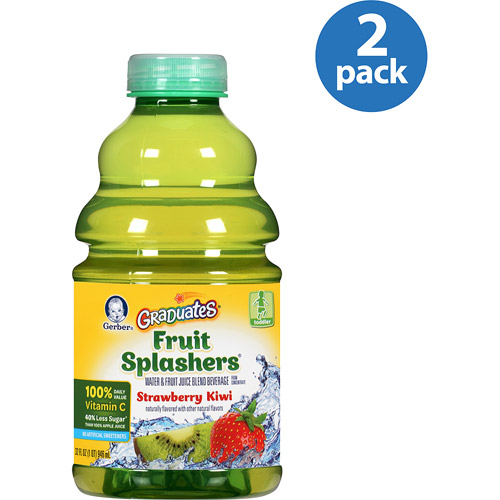 Gerber Graduates Fruit Splashers Strawberry Kiwi Water & Juice Beverage, 32 fl oz (Pack of 2)