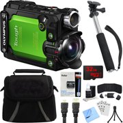 "Olympus Stylus TG-Tracker Waterproof 4K Action Cam Green Accessory Bundle includes Camera, 43"" Telescopic Selfie Stick, Bag, HDMI Cable, Battery, 32GB microSD Memory Card, Beach Camera Cloth and More"
