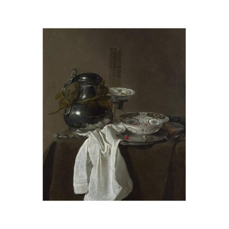 Still Life with a Pewter Flagon and Two Ming Bowls, 1651 Print Wall Art By Jan Jansz - Pewter Arts