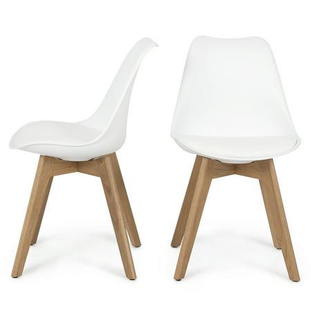 Belleze Set Of 2 Retro Dsw Mid Century Style Molded Plastic Chair Side Premium