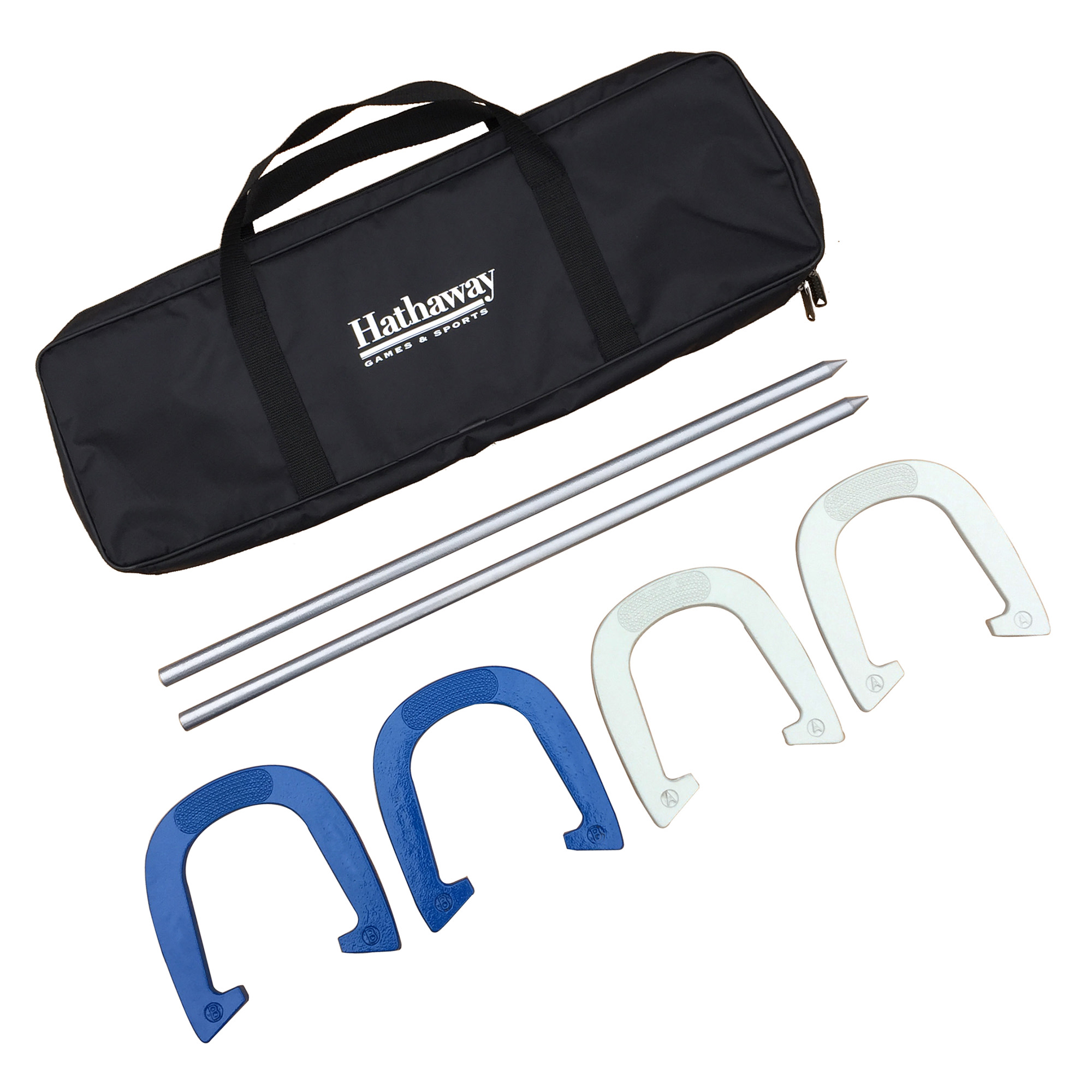 Hathaway Heavy Duty Horseshoe Set w/4 Horseshoes, 2 Steel Stakes, & Nylon Carry Bag - Silver & Blue
