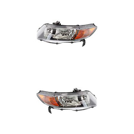Headlight - Eagle Eyes Fit/For 5212702070, 5212802060 06-08 Honda Civic-Coupe Without Bulb Both Pair, Left Driver Right Passenger Hand (Exclude Manual 6-Speed)
