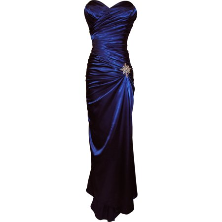 Strapless Long Satin Bandage Gown Bridesmaid Dress Prom Formal Crystal Pin (XS, Royal Blue) ()