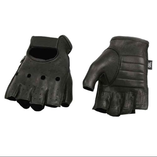 Milwaukee Leather Men's Deerskin Leeather Fingerless Gloves W/ Padded Palm, Perforated Panels & Open Knuckle  Black