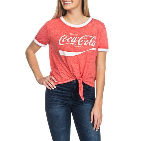 Coca-Cola Juniors' Graphic Tie Front Ringer T-Shirt (Music Ladies Ringer T-shirt)