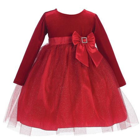 Baby Girls Red Velvet Bow Accent Glitter Tulle Occasion Dress 6-24M