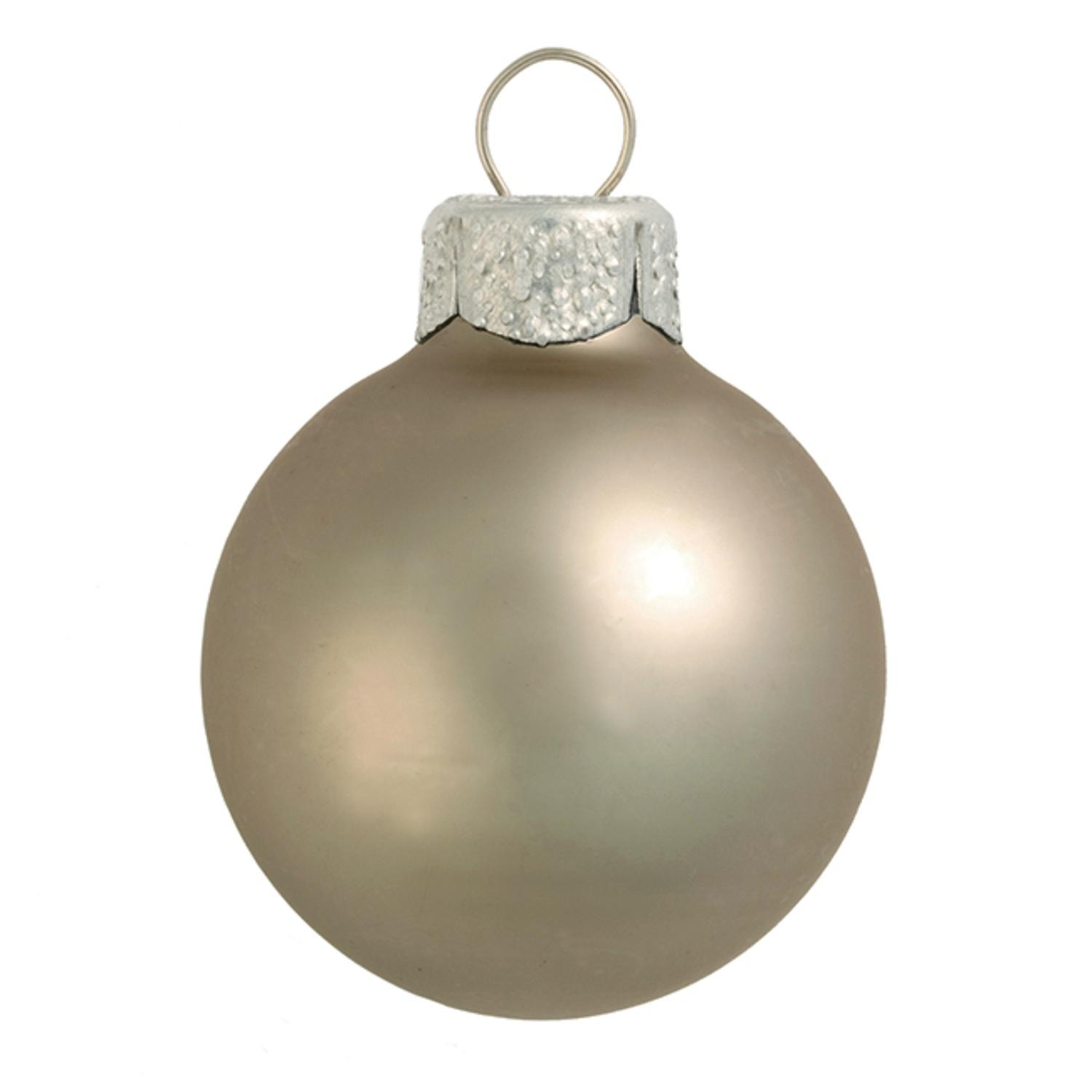 "40ct Matte Pewter Gray Glass Ball Christmas Ornaments 1.5"" (40mm)"
