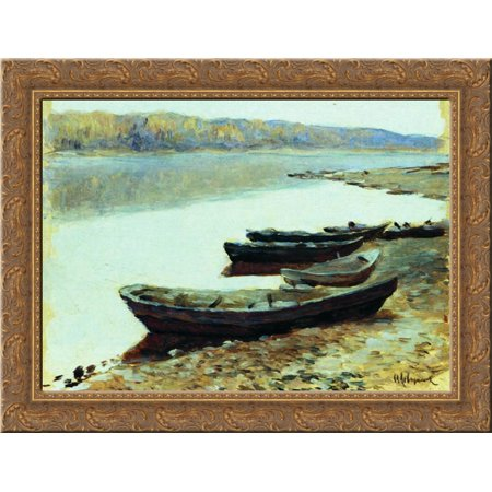 Landscape on Volga. Boats by the Riverbank. 24x18 Gold Ornate Wood Framed Canvas Art by Isaac Levitan - Love Boat Isaac
