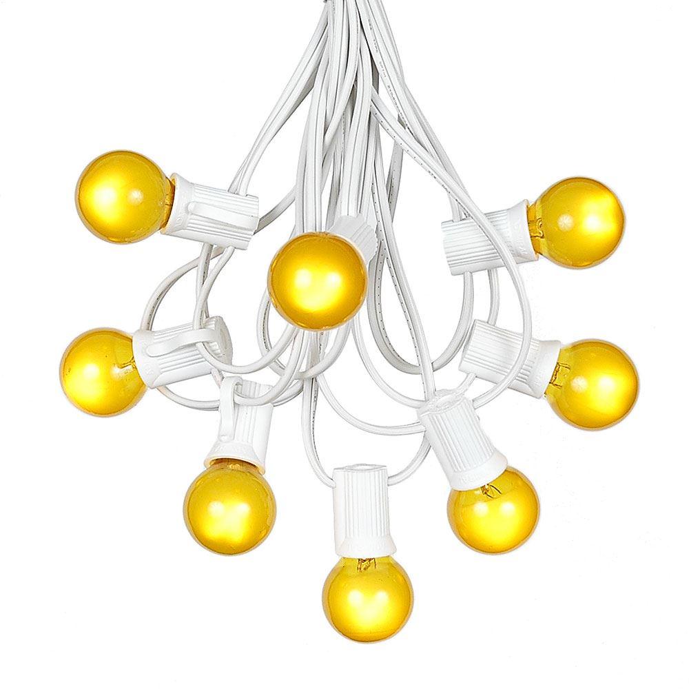 G30 Patio String Lights with 25 Clear Globe Bulbs – Wedding Outdoor String Lights – Market Bistro Café Hanging String Lights – Patio Garden Umbrella Globe Lights - White Wire - 25 Feet