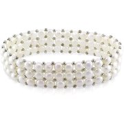 5-5.5mm White Button Cultured Freshwater Pearl Brass Elastic 3-Row Bracelet, 7