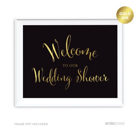 Welcome To Our Wedding Shower Black and Metallic Gold Wedding Signs (Wedding Welcome Signs)
