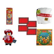 """Christmas Fun Gift Bundle [5 Piece] - Xmas Ornamentbooks: Grandfather's Nativity, Reindeer - Splendid! By Nygala 40"""" Snowman Candy Cane Countdown -  Red Plaid Cloth Placemats Set of 4 - Penguin  12"""""""