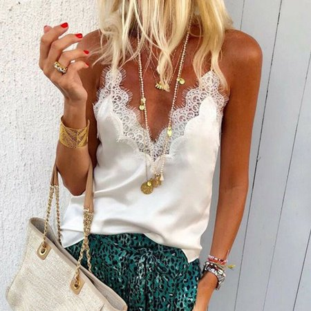 Women Sexy Satin Silk V Neck Lace Vest Camisole Tank Vest Blouse Cami Crop Tops White Size S