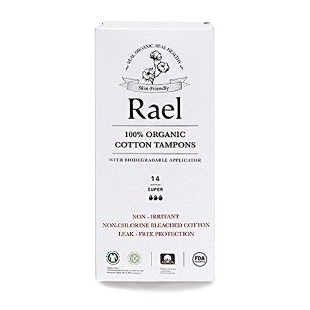 - Rael 100% Organic Cotton Chlorine Free Tampons, Super, 14 Count