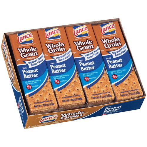 Lance Whole Grain Real Peanut Butter Sandwich Crackers, 1.52 oz, 8 count